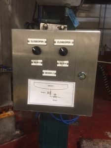 A close up of the control box operating the new pneumatic valve